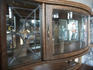 OLD OAK SIDEBOARD With LEADED GLASS Belleville Belleville Area image 7