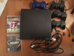 PS3 160 GB, Slim, w/ 4 controllers and 2 games