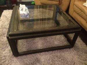 Solid Wood, Glass Top Coffee Table