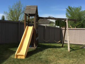 Play center and swing set with sandbox