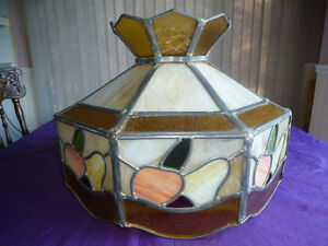 LARGE ANTIQUE STAINED GLASS TIFFANY STYLE HANGING LAMP SHADE