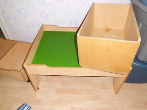 Childrens wooden table and boxes