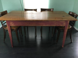 Solid wood harvest table with six chairs