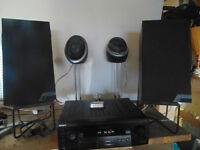 Stereo receiver, 4 speakers, 4 stands