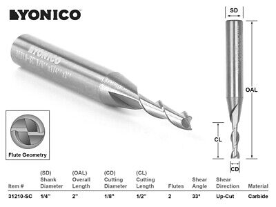18 Dia. Upcut Spiral End Mill Cnc Router Bit - 14 Shank - Yonico 31210-sc