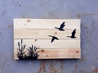 """Rustic reclaimed wood signs - """"flying silhouette"""""""