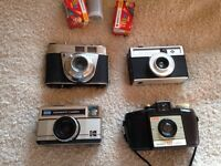 4 vintage cameras and film