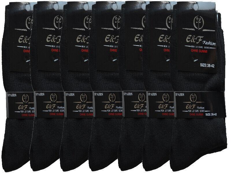 12 Paar Herren Socken Schwarz Business Strümpfe Baumwolle 43-46 39-42 ohne Gummi