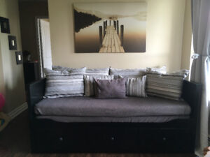 HEMNES SOFA BED BLACK , includes mattresses and covers