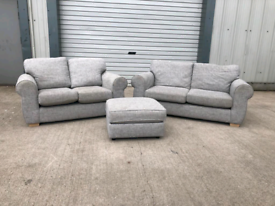 Next grey fabric 3 piece suite 3+2+footstool 🚚🚚