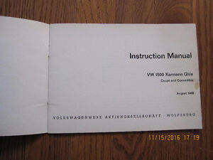 1968 1500 Karmann Ghia Owners Manual Sarnia Sarnia Area image 2