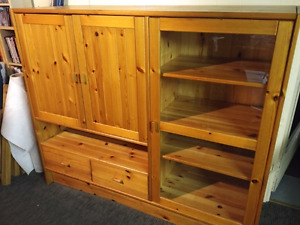 Large Ikea cabinet with glass door and shelves, condition
