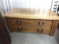 Beautiful wooden rough sawn chest coffee table