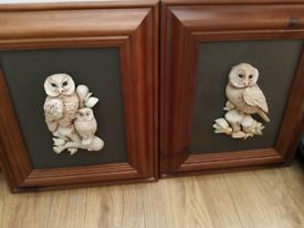 Two pine framed 3d effect owls