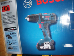 Bosch 18 V cordless drill/driver. NEW w/carry case .