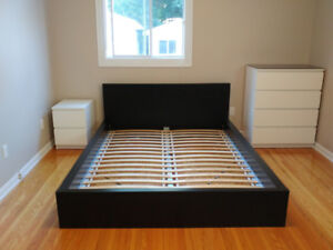 Black/Brown Malm Queen Size Bed Frame, slats excellent condition