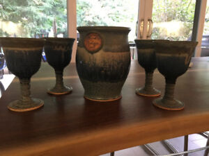 New pottery Wine chiller and 4 goblets.