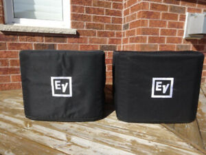 (2) Electro-Voice EKX-15SP Powered Subwoofer Speakers w/ covers