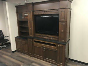 Cherry China Cabinet/T.V. Unit w/Soapstone Counters
