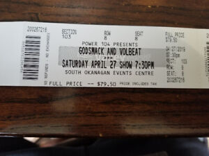 Godsmack and Volbeat tickets, April 27th in Penticton.