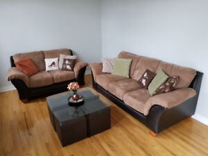 Couch & loveseat, microfibre + faux leather + matching table