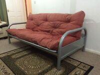 Silver metal frame sofa bed