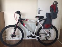 Men's brand new mountain bike. Apollo evade. Never been used or outside Child's seat and brackets
