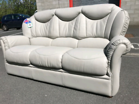 🤩🤩Brand New Grey Italian Leather 3 Seater Sofa 🤩🤩🤩