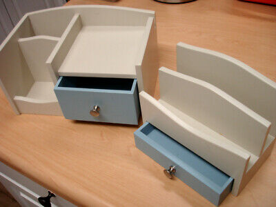 2 Desk Office Supply Shelf Organizers With Drawers - Sturdy Wooden Smooth Finish