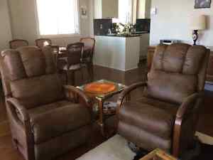 2 La-Z-Boy Recliner Swivel Chairs ,Brown faux Suede/Leather Look