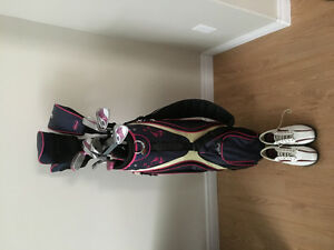 Women's golf clubs and shoes