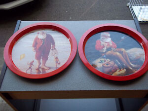 """Two Santa Claus on Vacation Serving Trays 13"""" dia."""