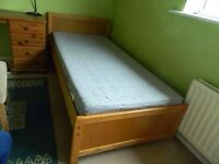 IKEA pine single bed with mattress / FREE DELIVERY