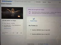 2x Tickets for Céline Dion / Caesars Palace, Las Vegas / May 14.