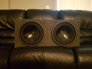 "Two Alpine Type S Subwoofers 10"" and Sealed Box"