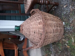 Antique wine jar with wicker West Island Greater Montréal image 1