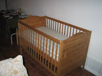 Crib along with Mattress + Changing Table
