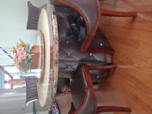 Beautiful round marble table set!