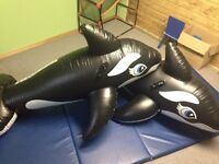 Two inflatable 6 foot long Whale Pool Toys