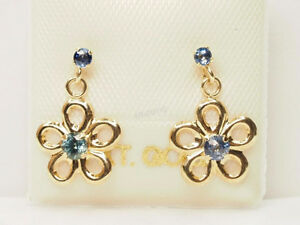 10K Yellow Gold Sapphire(0.18ct) Floral Earrings.
