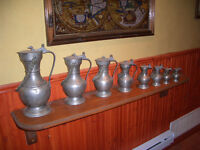 Antique Pewter can set of 8 different sizes