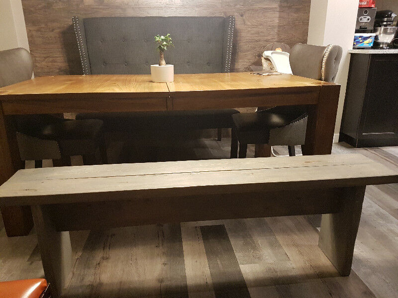 Rustic Grey Stained Dining Bench