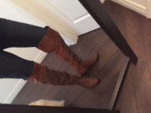 NEW  FALL SUEDE/LEATHER KNEE HIGH BOOTS 8.5