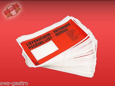 (DL250) 1000 Lieferscheintaschen Dokumententaschen Rechnungstaschen DIN lang rot