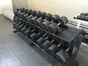 Dumbbells, machines, weights, accessory items, boxes, platforms,