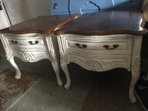 Used 2 bedside table french provincial.  Rustic