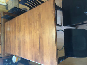 2 tone Dining table with 5 black chairs