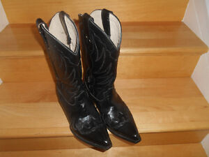 CLASSIC ALL LEATHER BLACK COWBOY BOOTS