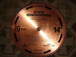 NEW IRWIN TOOLS 14 INCH CHOP SAW BLADE FOR METAL