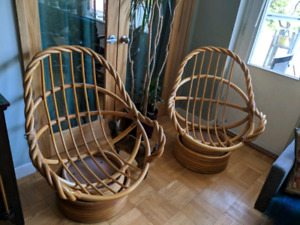 Rattan Swivel Papasan chairs